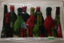 "PEGGY KARR FUSED GLASS 14"" VINTAGE WINE TRAY IN ORIGINAL BOX WINE BOTTLES"