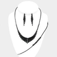 3 pieces black crystal/ rhinestone pretty evening necklace & bracelet set e 2