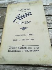 AUSTIN SEVEN HANDBOOK 1400D. APRIL 1937. ORIGINAL FACTORY PUBLICATION