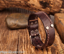 JS305 COOL Men's Surfer Single Band Lined Leather Wristband Bracelet Cuff BROWN