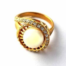 Trendy Womens Artificial Pearl crystal 14K gold filled Band Promise Ring Size 8