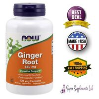 NOW GINGER ROOT 100 CAPSULES 550 Mg Supplement Digestive Support Immune System