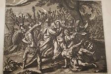 GRAVURE SUR CUIVRE PRISE JESUS TRAHISON JUDAS-BIBLE 1670 LEMAISTRE SACY (B226)