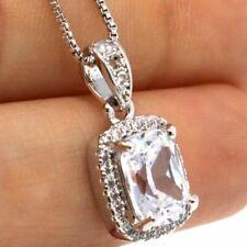 Vintage Cushion White Moissanite Necklace Women Nickel Free Jewelry 14K Gold