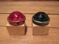 Vintage Green & Red Round Glass Jewel Reflectors Schwinn Bicycle Car Motorcycle