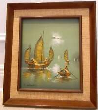 vintage ORIGINAL signed  OIL ON CANVAS PAINTINGS by L.WONG