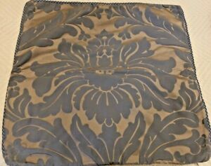 """Sferra - Pair of  21"""" Square Gray & Tan Damask Pillow Covers"""