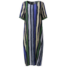 Zanzea Women Casual Loose Short Sleeve Tunic Striped Long Tshirt Dress Plus Size Green - Vintage Oversized Midi Robe AU 24