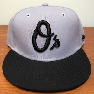 Baltimore Orioles Hat Baseball Cap Fitted 7 1/2 Vintage Gray Black MLB Retro Os
