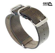GEO-Straps Nato Leder Durchzugs-Uhrenarmband Modell Ponderosa khaki-grün 18 mm