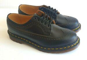Dr Martens Made In England Vintage 3989 Black Leather Brogue Shoes