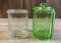 Lot Of 2 Antique Glass Tobacco Jars Green & Clear Glass Wring/No Lids