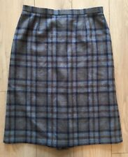 Pure New Wool Vintage Blue Checked High Waisted A-line Skirt Size 18