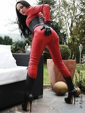 Ledercatsuit Leder Catsuit Rot Anzug Overall Maßanfertigung