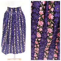 Vintage VTG 1950s 50s Purple Pink Floral Patterned Midi Skirt