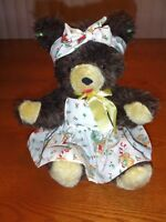 "VTG Teddy Bear Brown OOAK Christmas Apron Earrings Mohair Felt  Sitting 12"" EUC"