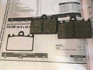 FRONT BRAKE PADS  EBC FA180 KAWASAKI ZXR400 L1-9 ONE PAIR BRAND NEW