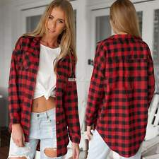 Women Button Down Plaid Check Lapel Tartan Long Sleeve Top Long Blouse T-Shirt A
