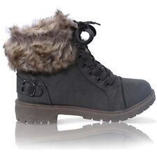 Ladies Faux Fur Grip Sole Winter Warm Ankle Womens BOOTS Trainers Shoes Size 3-8 Grey UK 6 EU 39