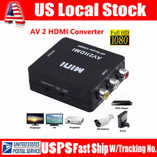 Input RCA AV to HDMI Output Displayer Converter Adapte Composite Signal Upscaler