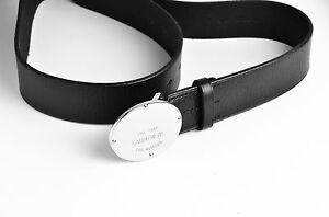 Lauren Ralph Lauren Women's Leather Logo Plaque Belt Black/Silver Size S - NEW