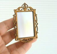 Miniature Dollhouse Mirror Glass Wood Wall Fancy Frame Home Decor  Scale 1:12