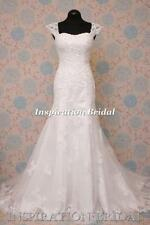 A-line Lace Cap Sleeve Scoop Neck Wedding Dresses