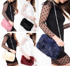 New Women Ladies Designer Fluffy Clutch Faux Fur Bag Purse Chain Runway Flap