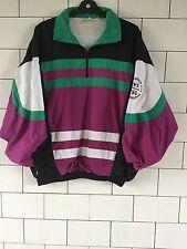 BRIGHT VINTAGE RETRO 80'S CRAZY BOLD OVERHEAD SHELLSUIT WINDBREAKER JACKET #92