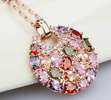 Genuine 18K Rose GOLD Plated Multicolour Cubic Zirconia  Round Pendant Necklace