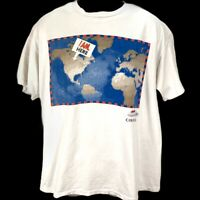 Molson Canadian Men's XL White T-Shirt Vtg 90s Single-stitch World Map I Am Here
