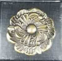 """Vtg Flower Metal Drawer Pull W/ Base Plate Reclaimed Brass Rose Vine Large 1.5"""""""