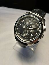 TISSOT COUTURIER  CHRONOGRAPH WRISTWATCH. BLACK LEATHER STRAP......