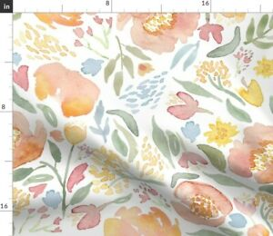 Peony Watercolour Watercolor Floral Flower Spoonflower Fabric by the Yard