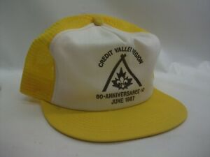 Credit Valley 1987 Youth Hat Vintage K Brand Yellow White Snapback Trucker Cap