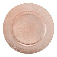 Set of 4 Faux Crocodile Charger Plates Rose Gold Wedding Dinner Table Settings