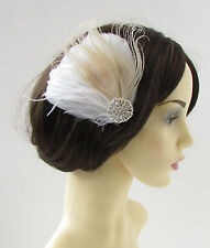 White & Champagne Silver Peacock Feather Fascinator Hair Clip Bridal 1920s 9AQ