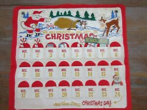 Vintage PLASTIC HANGING CHRISTMAS ADVENT CALENDAR SANTA & RUDOLPH REINDEER