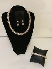 Matching Jewellery Set - Peach Quartz and Fresh Water Pearls - 44.5mm Necklace