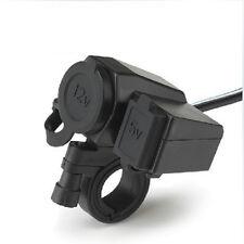 USB Cigarette Lighter 12V Waterproof Power Port Outlet Socket Kit For Motorcycle
