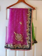 Girls readymade Green and Pink half and half saree Indian Ethnic wear