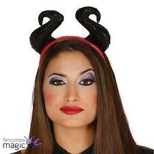 NUEVO EVIL Reina Bruja Malvada Negro Cuernos Accesorio para pelo diadema Disfraz
