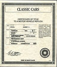 DANBURY MINT 1941 CADILLAC FLEETWOOD UNPACKING / CARE + TITLE PAPERS ONLY
