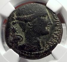JULIUS CAESAR 46BC Rome C Clovius Prefect Minerva Victory Roman Coin NGC i58873