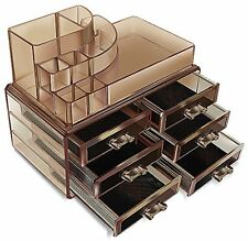 Acrylic Cosmetics Organizer Dark Colored Makeup Box Multi Function with Drawers