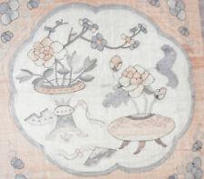 Chinese 1850-1900 Silk Hand Woven Tapestry w/Garden Floral Medallion Scene