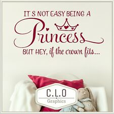 Princess Quote Wall Sticker Girls Bedroom Decor Vinyl Transfer Decal Uk Graphic