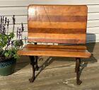Antique Cast Iron & Wood Folding Student Desk Chair. BUFFALO NEW YORK No #4