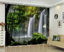 Blockout Drapes Fabric Jungle Waterfall Scenic 3D Photo Printing Window Curtains