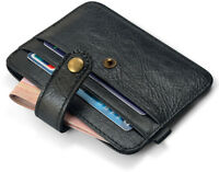 Genuine Leather Mens Slim Credit Card Case Womens Thin Wallet Black Small Pocket